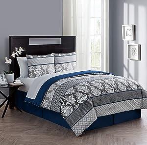 VCNY Home Beckham Collection Damask Pattern Reversible Comforter, Premium Microfiber 8 Piece Bedding Set, Stylish Elegant Design for Home Décor, Queen, Blue