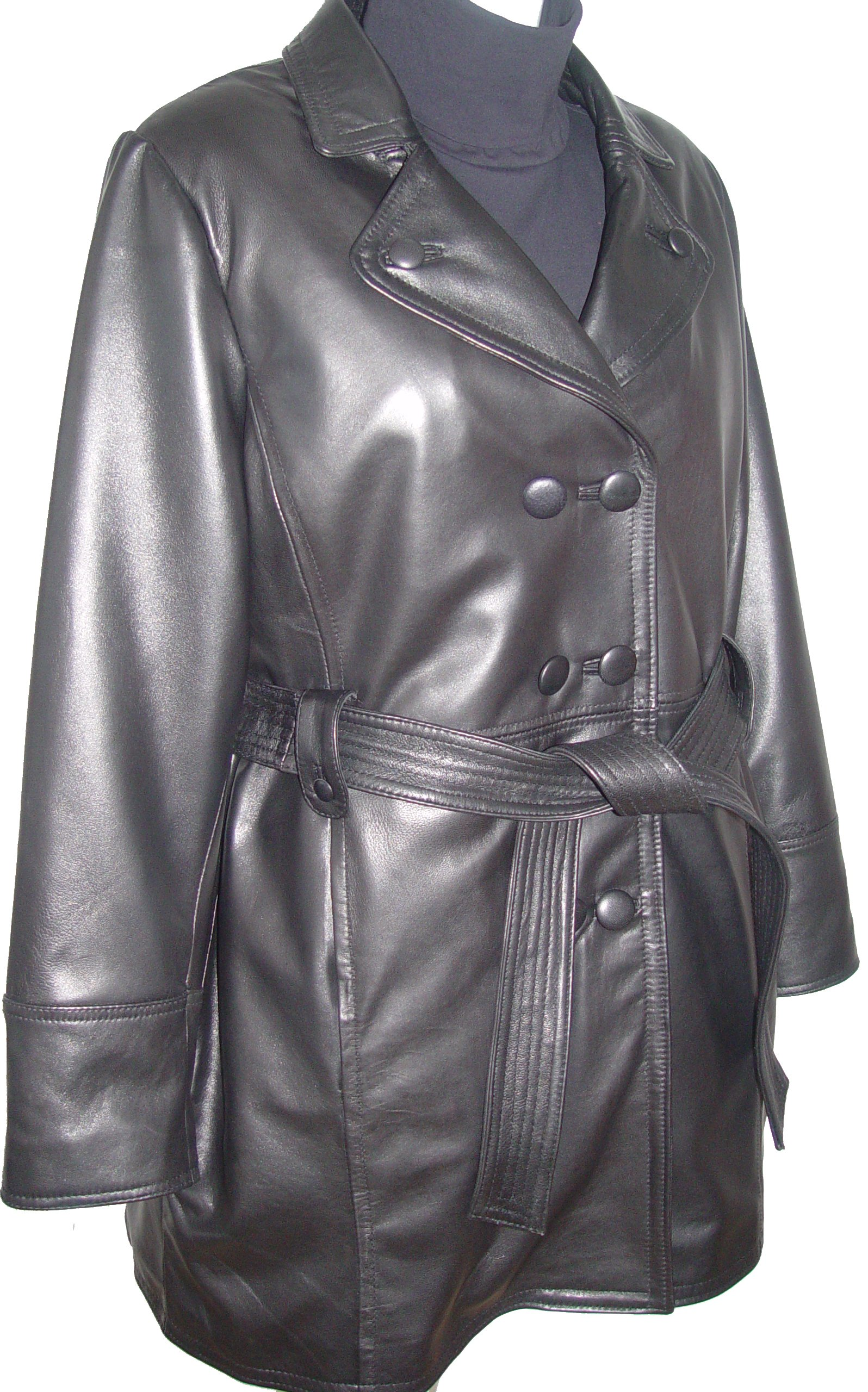 Paccilo 5006 Classic Leather Trench Coats Womens Business Clothing Soft Lamb by Paccilo (Image #8)