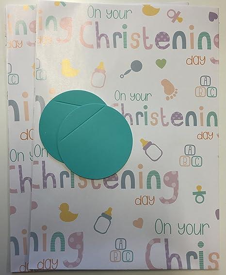 Amazon.com: Bautizo día Papel de regalo pack Wrap Set 2 x ...