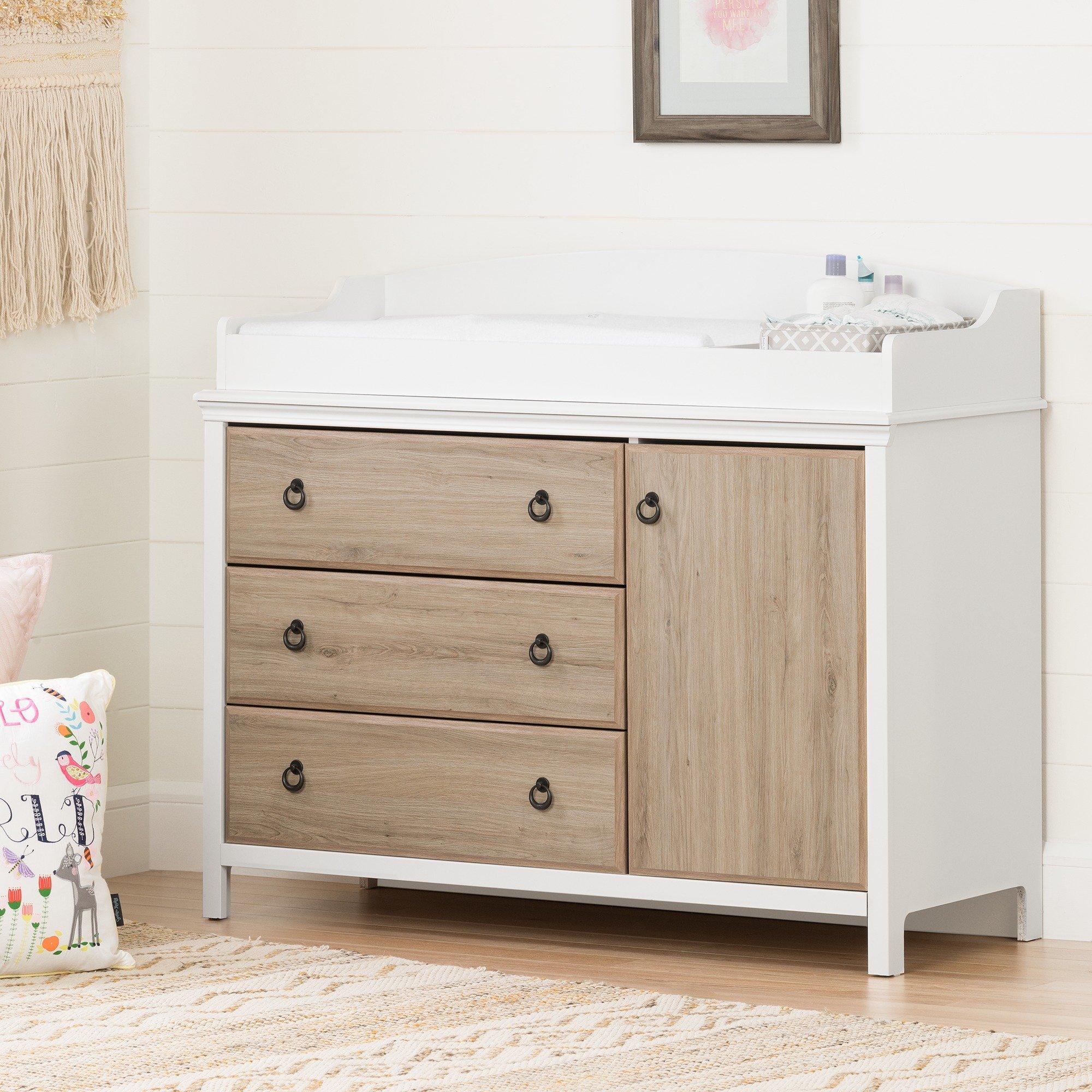 South Shore Catimini Dresser Changer in White and Rustic Oak