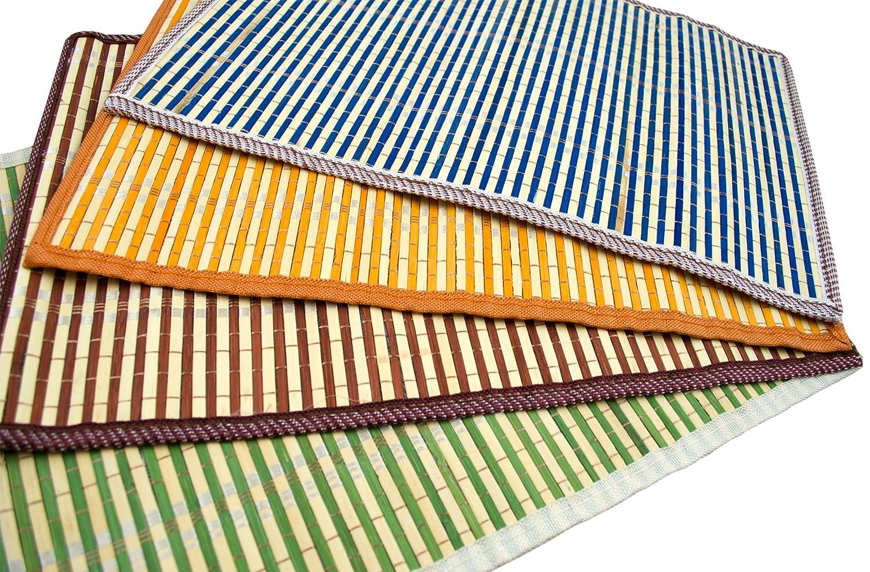 アジアホームスタイリッシュな竹プレースマット、ブルー、オレンジ、グリーン、ブラウン、4-peice   B01E9DF7MY