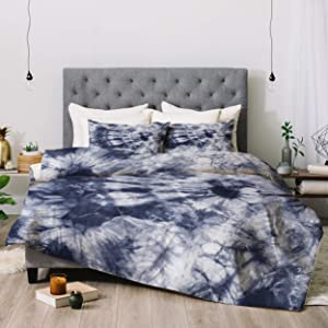 Deny Designs Amy Sia Tie Dye 3 Navy Comforter Set with Pillow Shams, Full/Queen, Blue