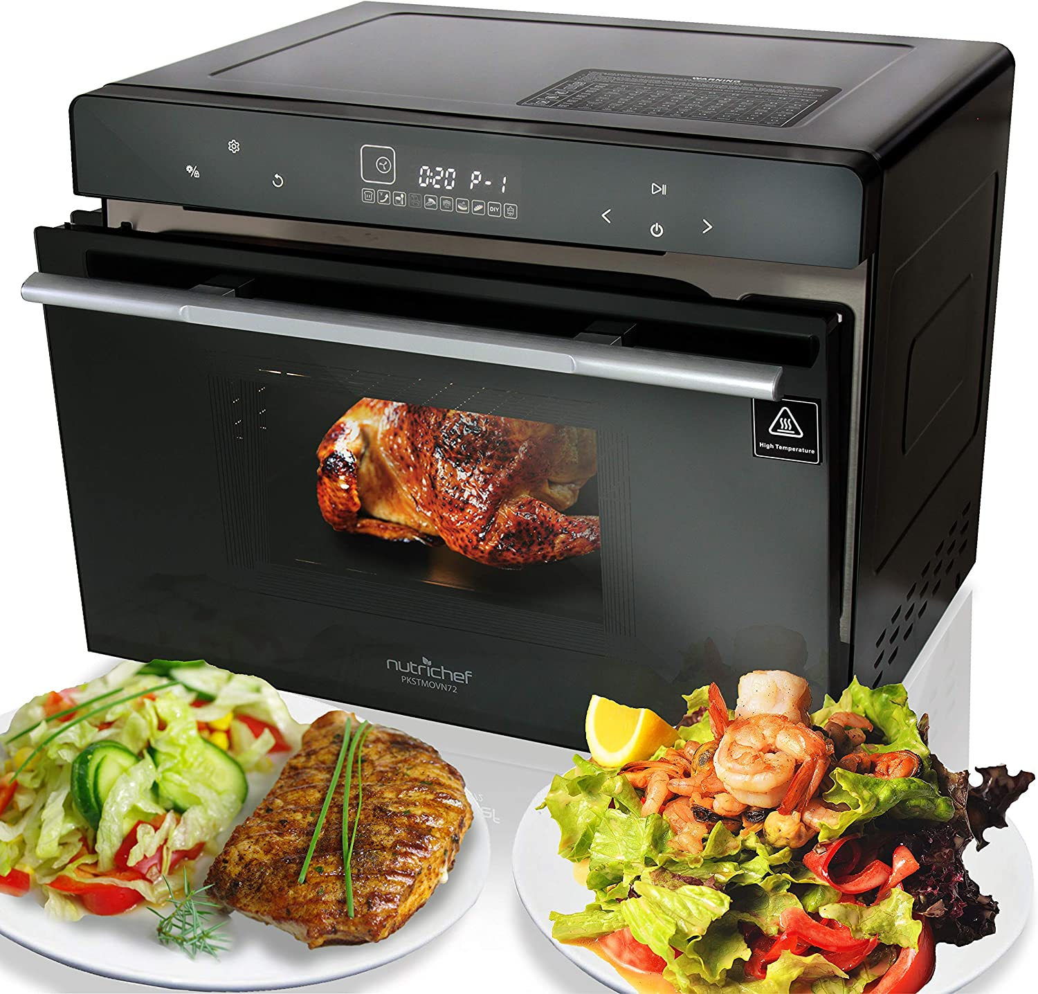 Electric Countertop Multifunction Convection Oven – 1800W 42QT Smart Digital Stainless Steel Compact Kitchen Black Rotisserie Toaster w Baking Pan, Grill Rack Tray, Glass Door – NutriChef PKSTMOVN72