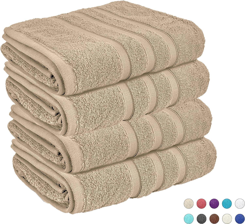 Lions - Juego de Toallas de Mano (100% algodón Egipcio, Ideal para Viajes en el Gimnasio, 550 g/m², 50 x 80 cm), Natural, Pack de 4: Amazon.es: Hogar