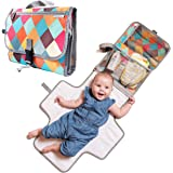 Seercal Portable Diaper Changing Pad - Light Travel Clutch and Organizer with Mesh Pockets and Waterproof Mat - Change Station Kit with Head Cushion for Newborn and Infants - Colorful Baby Shower Gift