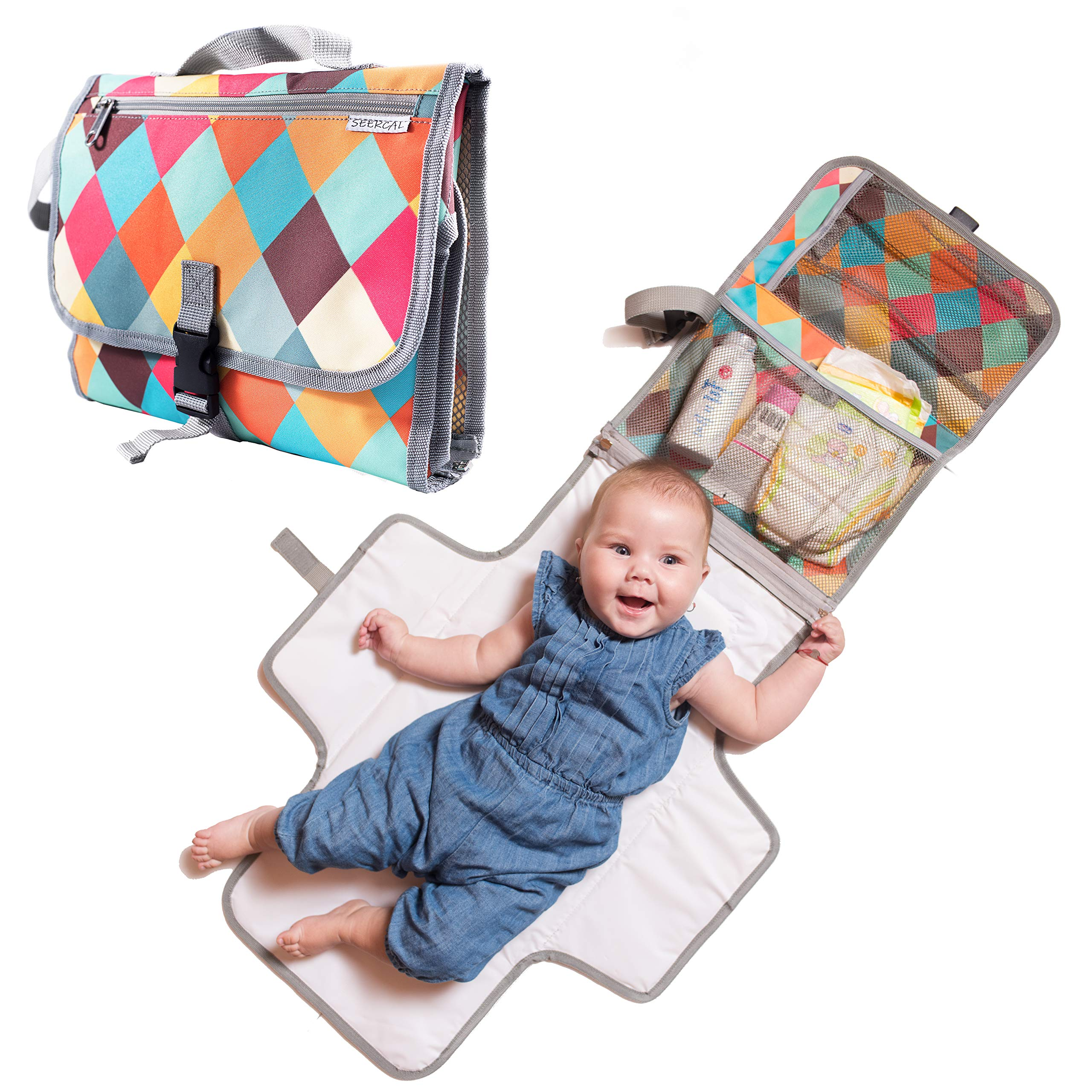 Baby Portable Diaper Changing Pad - Light Travel Clutch and Organizer with Mesh Pockets and Waterproof Mat - Change Station Kit with Head Cushion for Newborn and Infants - Colorful Baby Shower Gift by Seercal