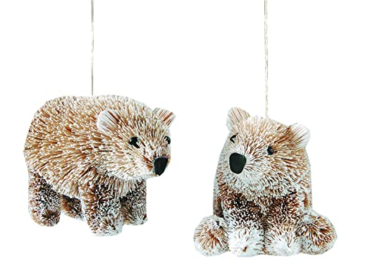 Christmas Tablescape Decor - Buri Bristle Frosted Bear Ornaments - Set of 2 by Gallery II