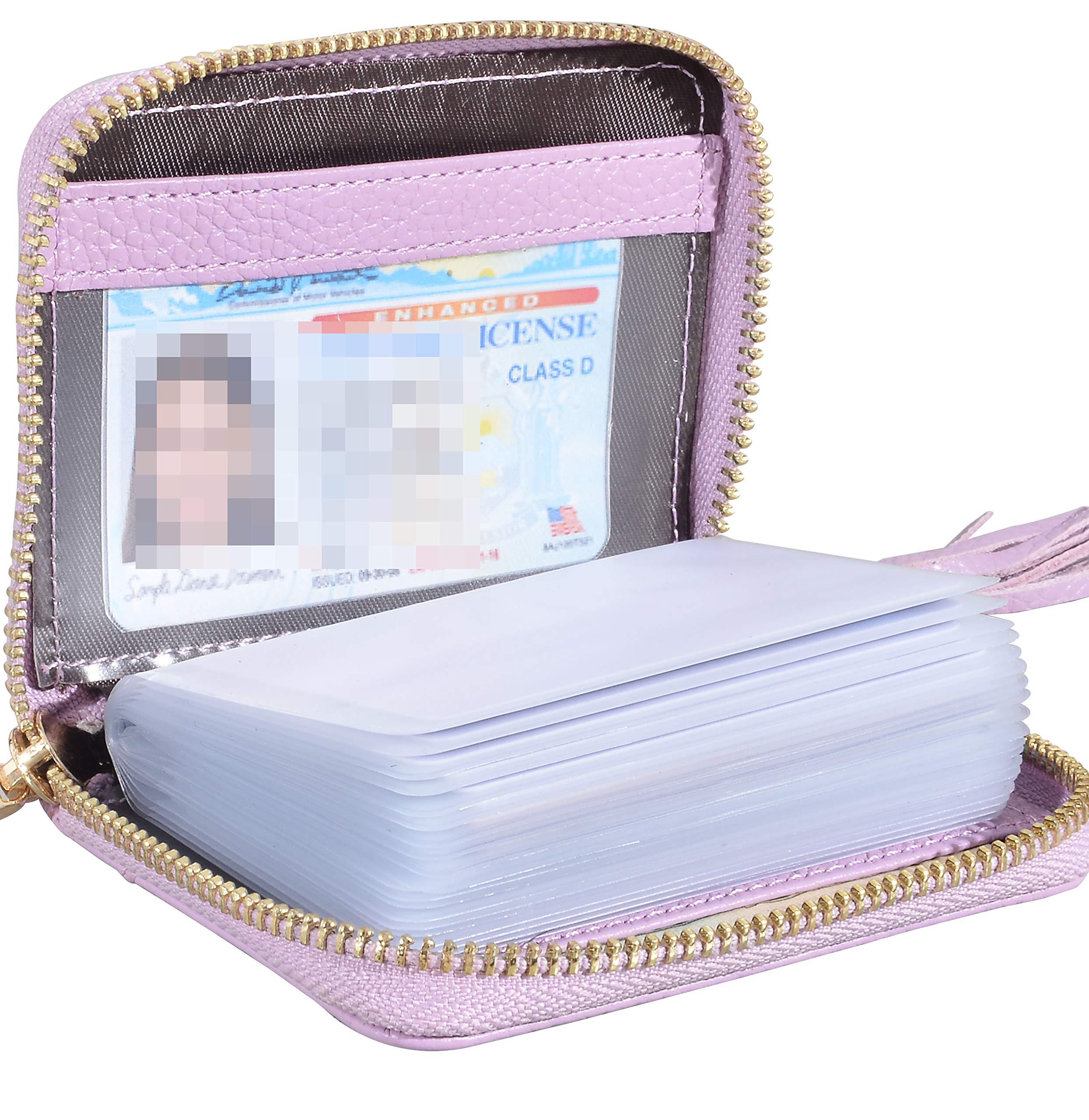 Yuhan Pretty Womens Credit Card Holder Wallet RFID Leather Small ID Card Case (lichi 20 Purple)