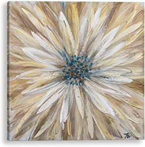 Bayland Collection Hand Painted Floral Canvas Artwork, Home Decor, Modern Wall Art,Oil Paintings for Living Room Bedroom, Gold Daisy 30x30 inch (Yellow)