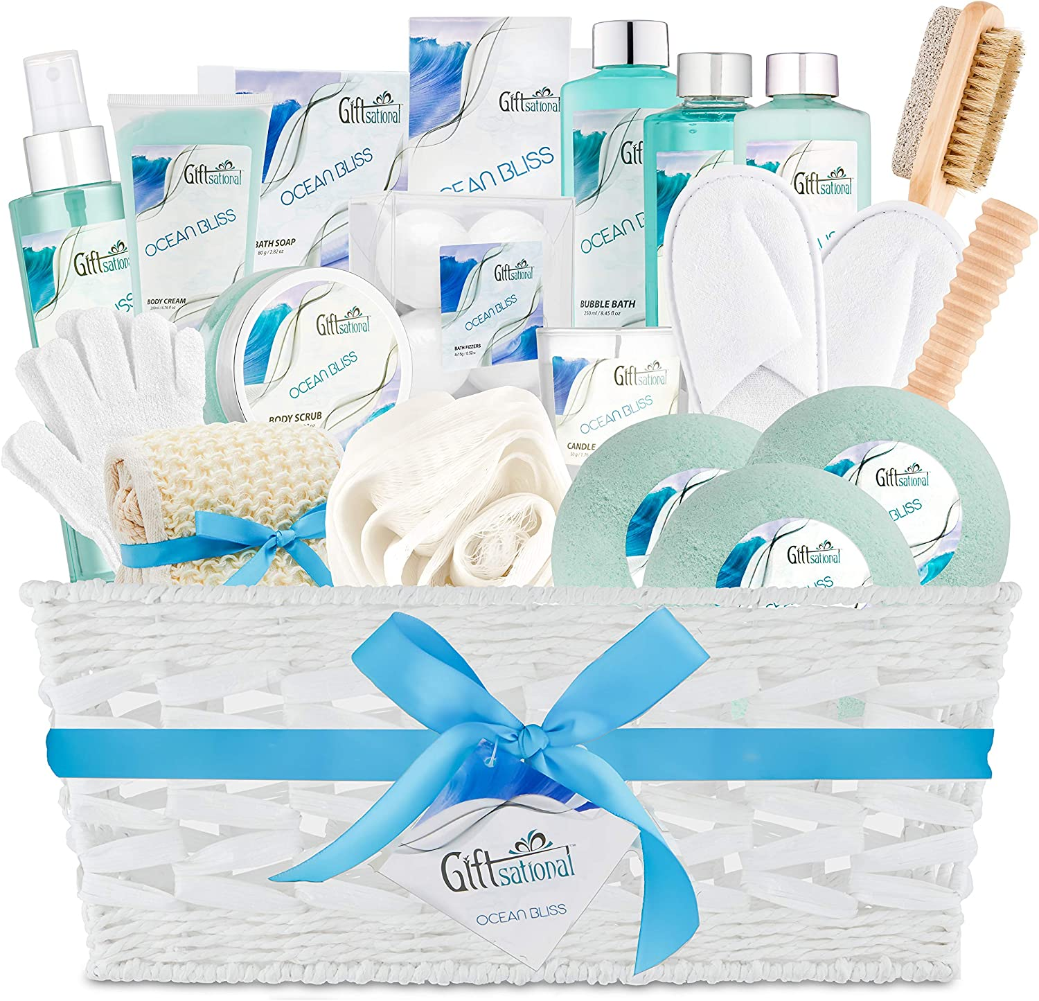 Ocean Bliss Extra Large Spa Bath Gift Basket,Great Christmas Gift, Includes 3 Bath Bombs, Shower Gel, Bubble Bath, Lotion, Scrub, Pumice Brush, Glass Candle, Slippers, Massage Stick & 5 More Items