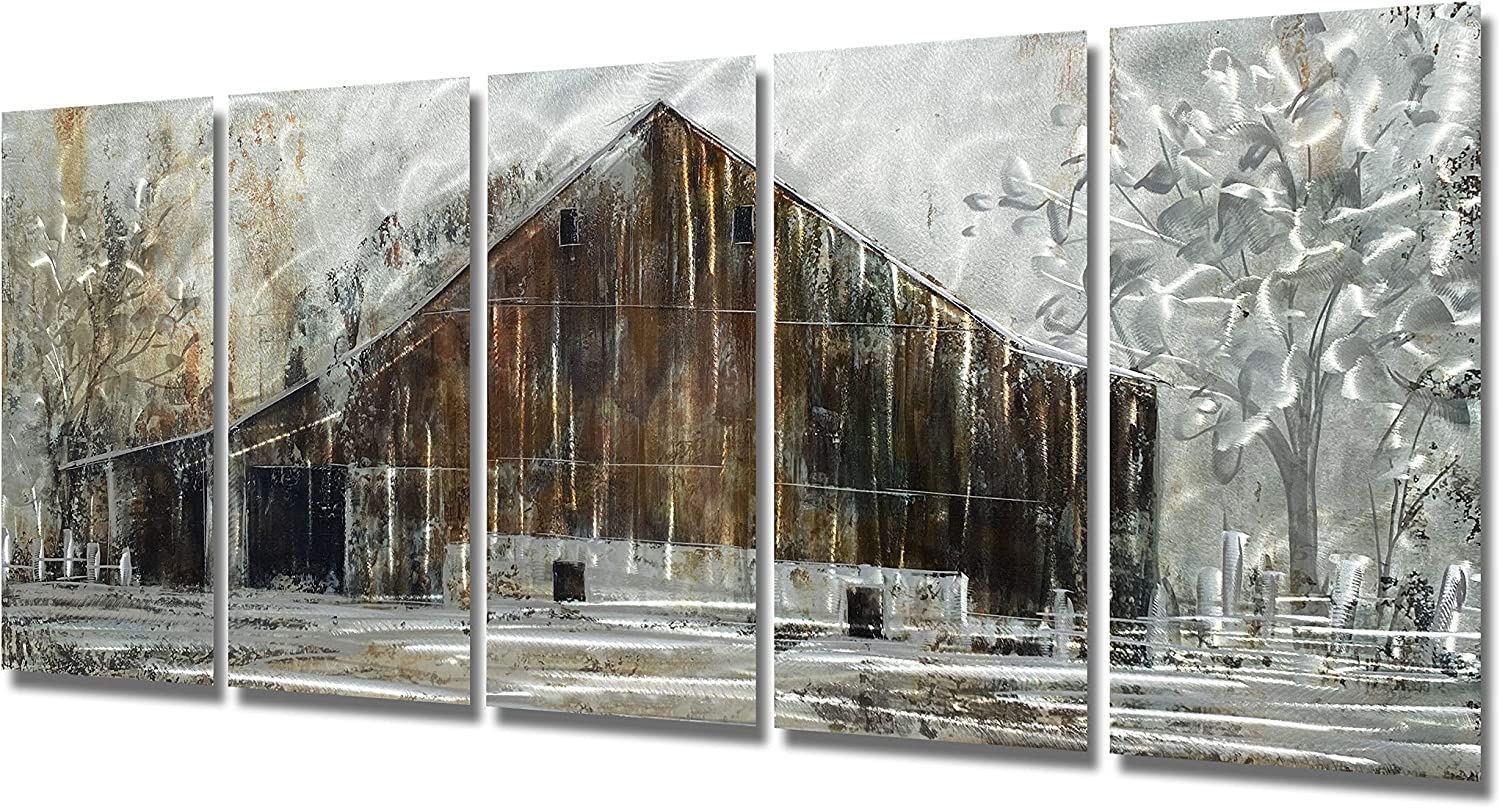 Brilliant Arts Farmhouse Metal Wall Art Rustic Barn Panel Decor for Living Room Abstract Brown and Silver Artwork Scuplture 3D Tree Painting on Aluminium