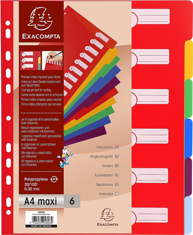Exacompta 4806E Divisori e Segnaletica, 24.2x29.7 cm, Multicolore