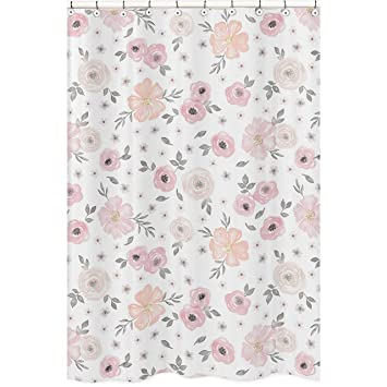 Sweet Jojo Designs Blush Pink Grey And White Bathroom Fabric Bath Shower Curtain For Watercolor