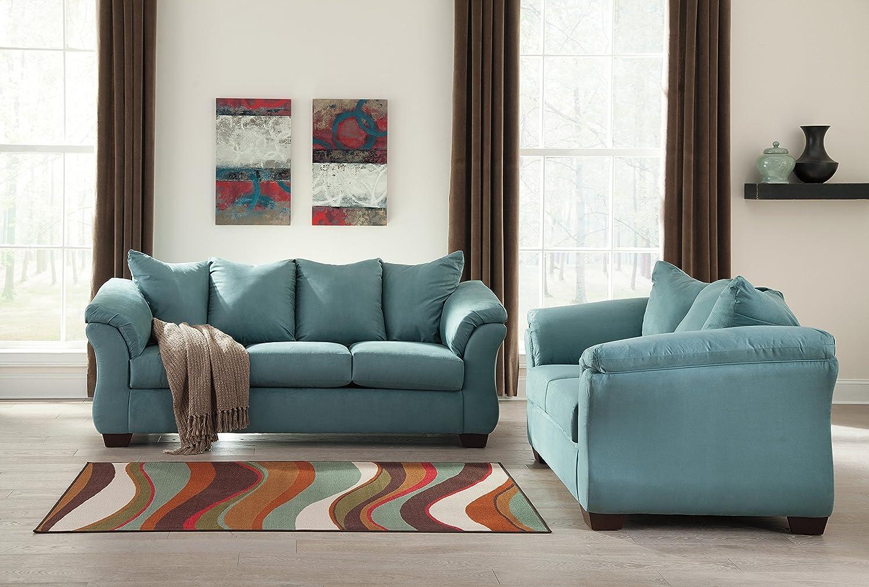 Amazon.com: Darcy Contemporary Sky Color Fabric Sofa and Loveseat ...