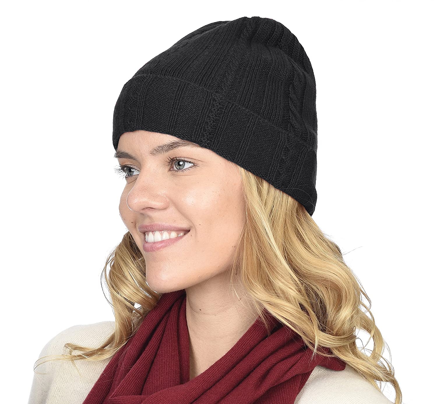 df3a0e8e6 State Cashmere 100% Pure Cashmere Cable Knit Beanie Hat - Ultimate  Soft,Warm and Cozy