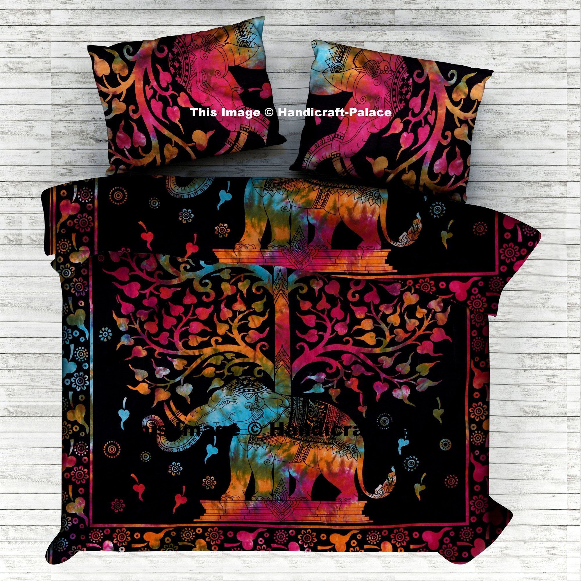 Elephant Tree Of Life Indian Cotton Queen Tie Dye Duvet Cover Pillow Case Doona Bohemina Quilt Blanket Cover By ''Handicraftspalace'' Indian Art