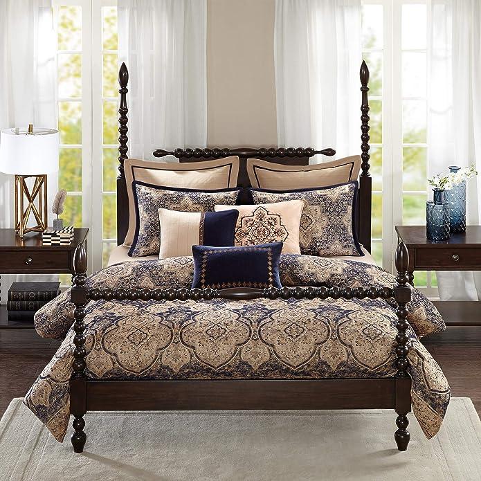 Madison Park MPS10-305 Wellington Comforter Set, Blue, King