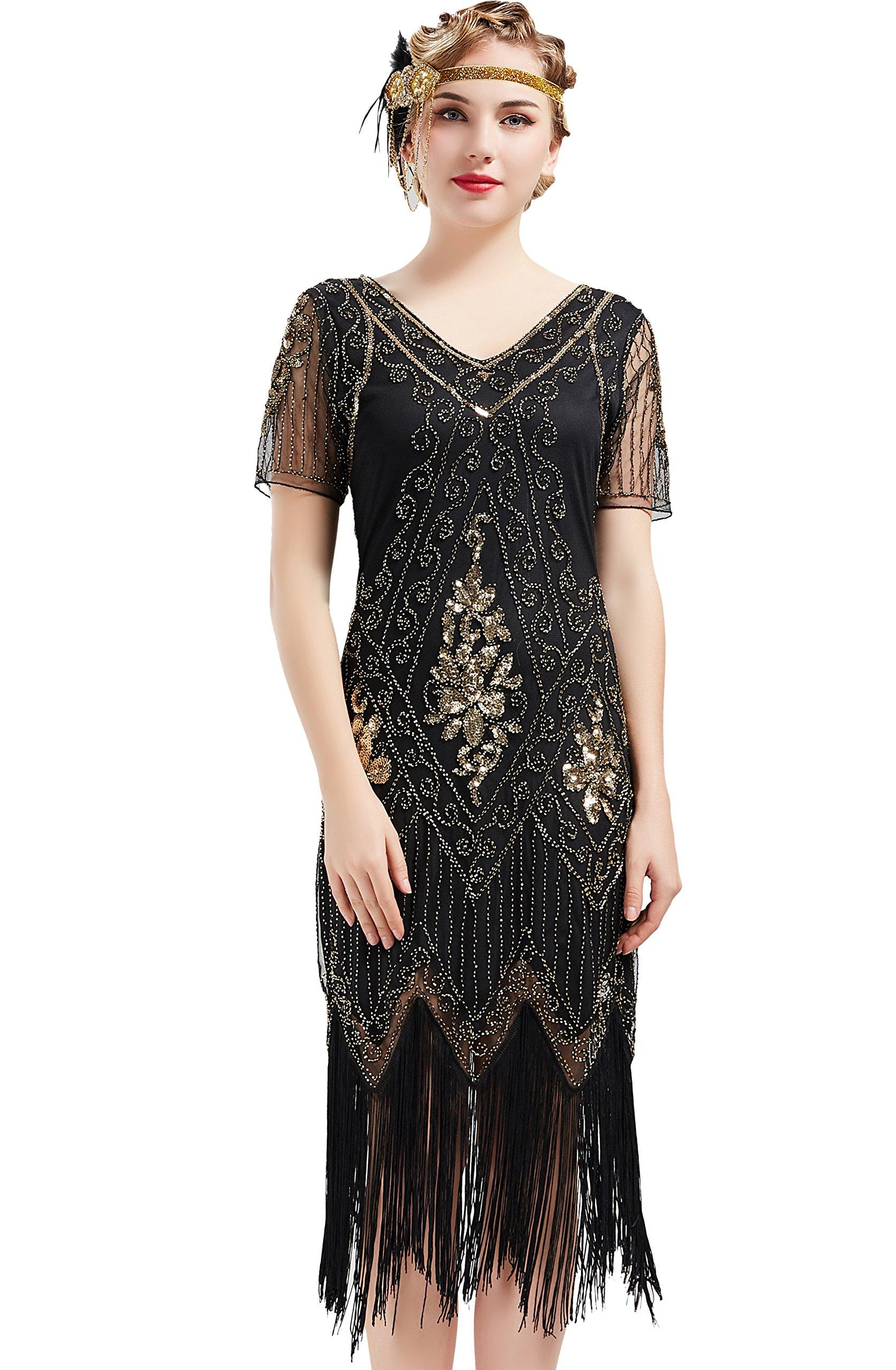c6d6d1a214 BABEYOND 1920s Art Deco Fringed Sequin Dress Roaring 20s Flapper Fancy Dress  Gatsby Costume Dress Vintage Beaded Evening Dress (Black and Gold