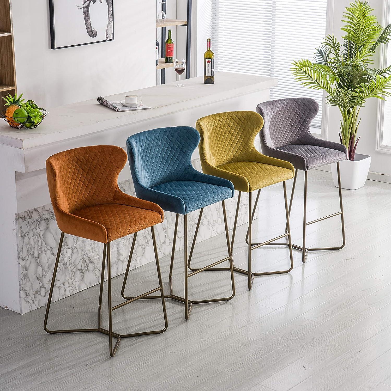 Blue Kitchen Barstool Brass Effect Leg Velvet Fabric Morocco Barstool Diamond Stitched Fabric Bar Chair Modern