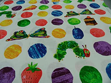 "Patchworkstoff all over  /""Kleine Raupe Nimmersatt/""  50 x 110 cm NEU"