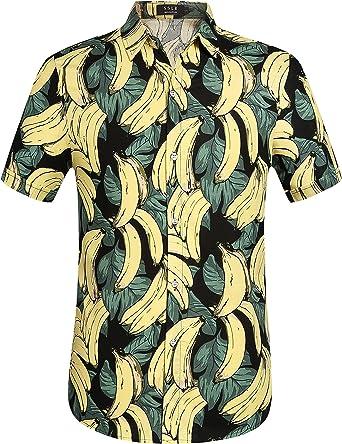SSLR Camisa Manga Corta de Algodón Estampado de Plátanos Fruta Tropical Estilo Hawaiano para Hombre