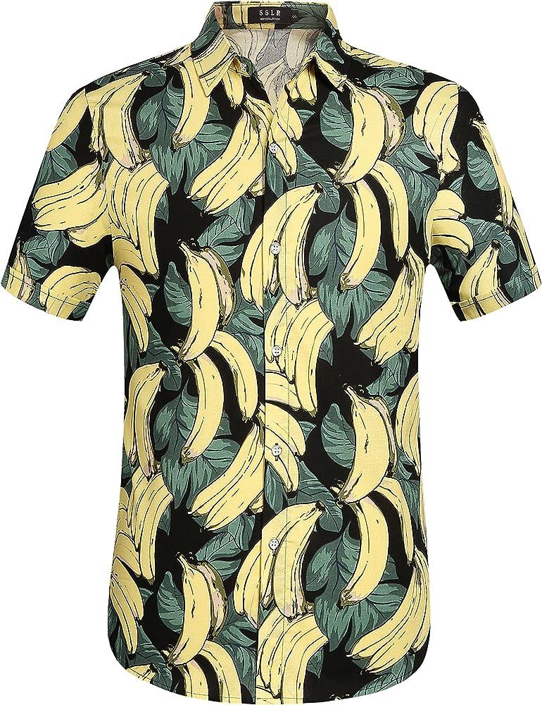 SSLR Camisa Manga Corta de Algodón Estampado de Plátanos Fruta Tropical Estilo Hawaiano para Hombre (Small, Verde): Amazon.es: Ropa y accesorios