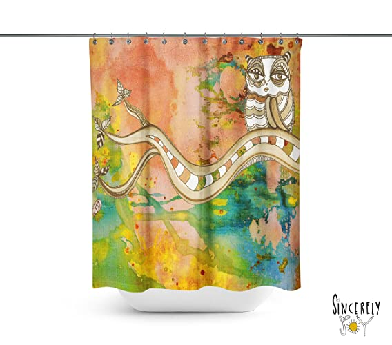 Surreal Owl Watercolor Shower Curtain. Shabby Chic Home Decor Bathroom  Accessories. Matching Bath Mat
