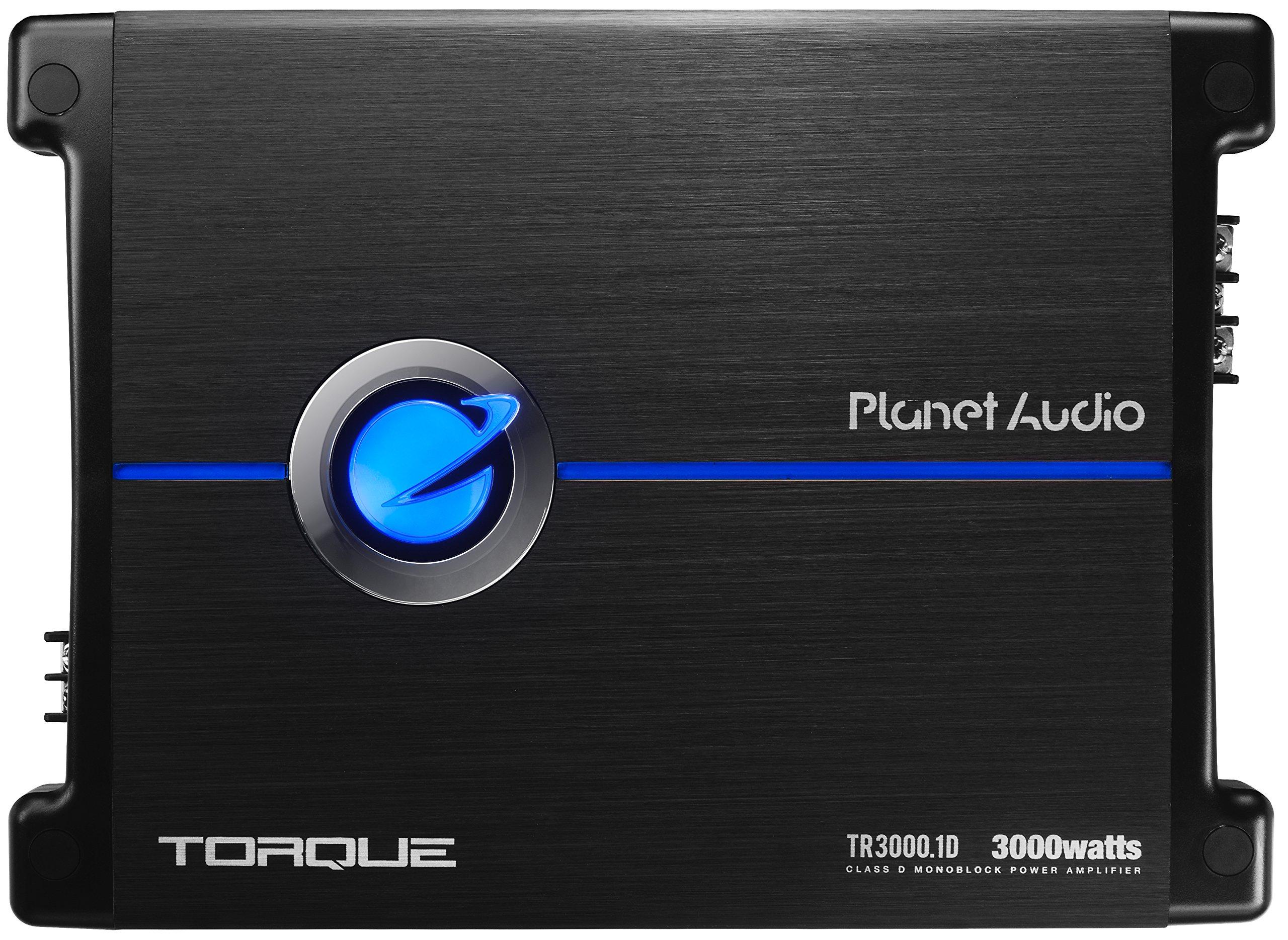Planet Audio TR3000.1D Torque 3000 Watt, 1 Ohm Stable Class D Monoblock Car Amplifier with Remote Subwoofer Control