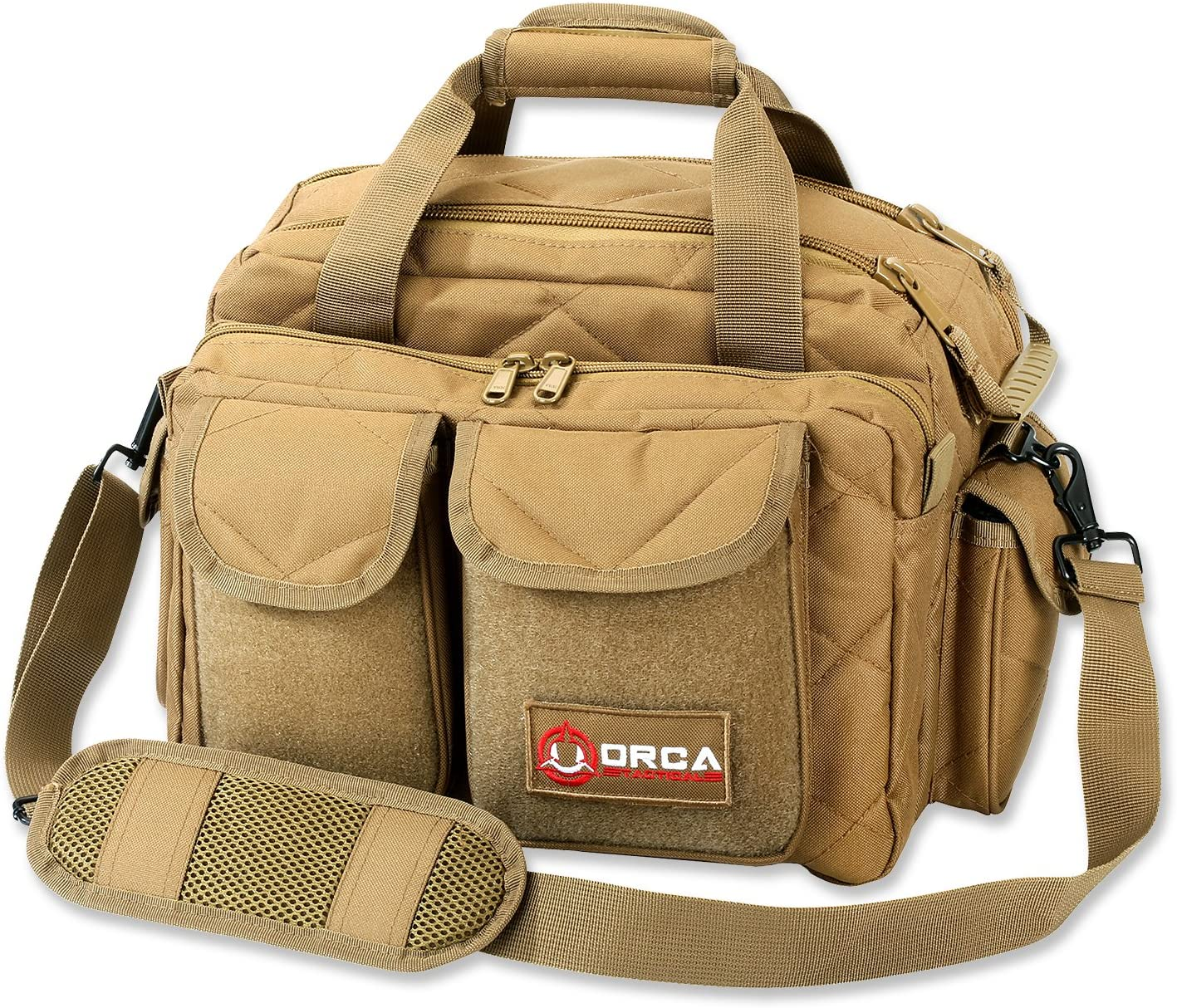 Image of a range bag, color brown, with padded shoulder strap and two front pockets velcro-closure type.