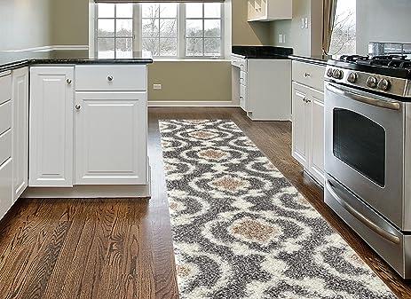 cozy moroccan trellis indoor shag runner rug 2u0027 x gray
