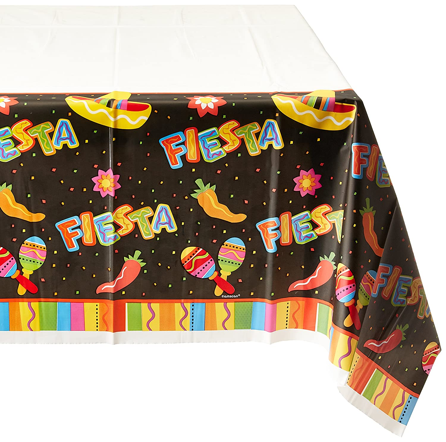 Amscan Fiesta Fun Cinco De Mayo Party Rectangular Table Cover Tableware Paper 54 x 102 Childrens Tablecovers 6 Piece