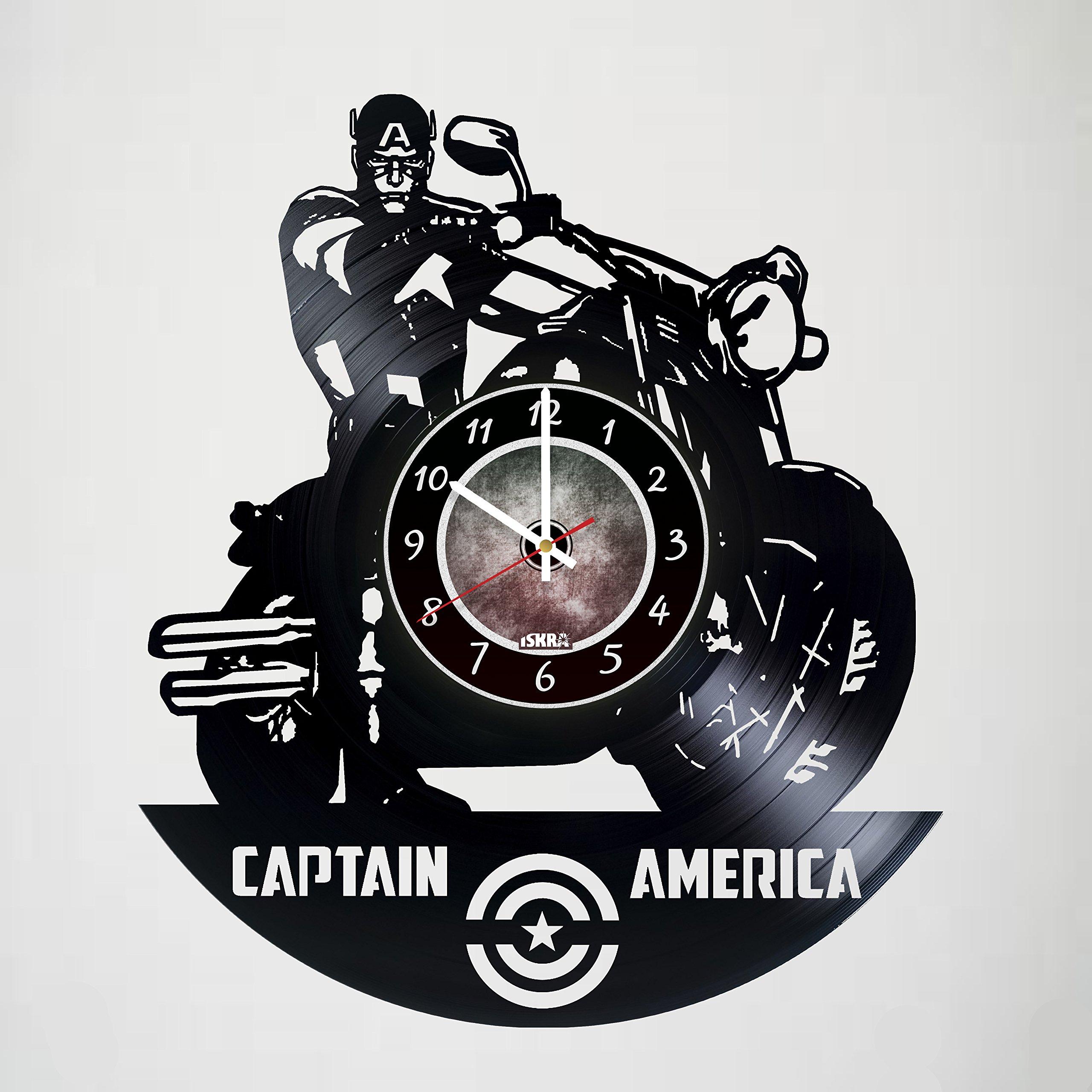 Iskra Shop CAPTAIN AMERICA - AVENGERS - Vinyl Wall Clock - Comics - Get unique living room wall decor - Gift ideas for friends, teens, children, men and women, boys and girls - Comics Books Films