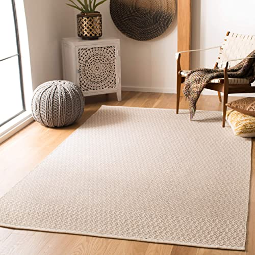 Safavieh Montauk Collection MTK339A Handmade Flatweave Ivory and Grey Cotton Area Rug 6 x 9