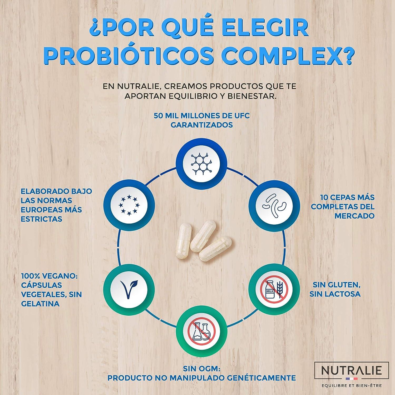 Probiótico 50 mil millones de UFC garantizados por dosis | 10 cepas efectivas y naturales | 60 cápsulas vegetales | Mejora las defensas y la flora ...