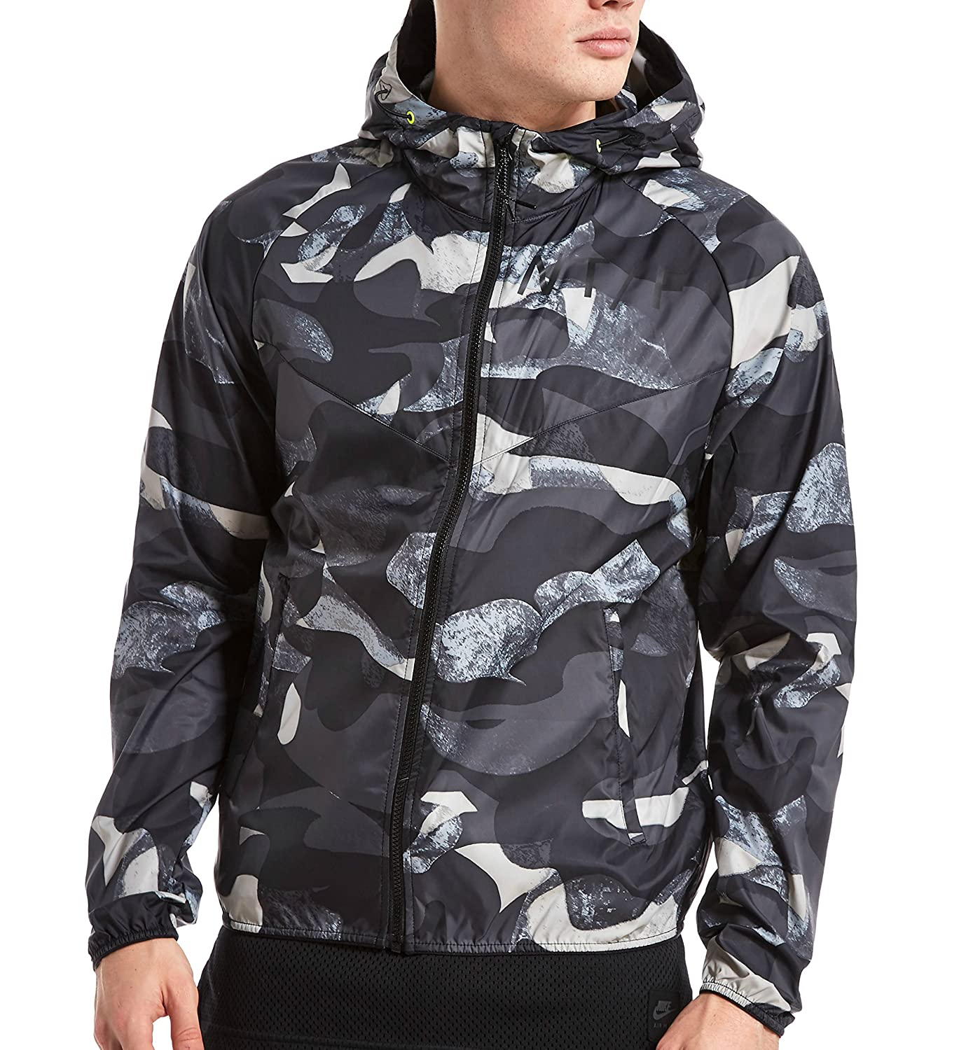 Mens Nike T/F Camo Windrunner Black/Volt Jacket