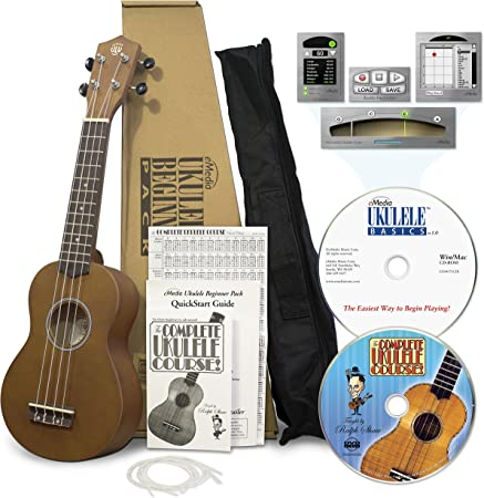eMedia Ukulele Beginner Pack – soprano ukulele, Win/Mac software lessons  with ukulele tuner (G-C-E-A) and ukulele chord dictionary, DVD-video  lessons, and accessories: Amazon.ca: Musical Instruments, Stage & Studio