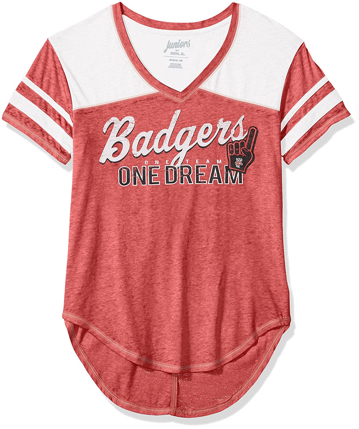 NCAA Wisconsin Badgers Juniors Outerstuff Vintage Short Sleeve Football Tee Team Color 15-17 X-Large