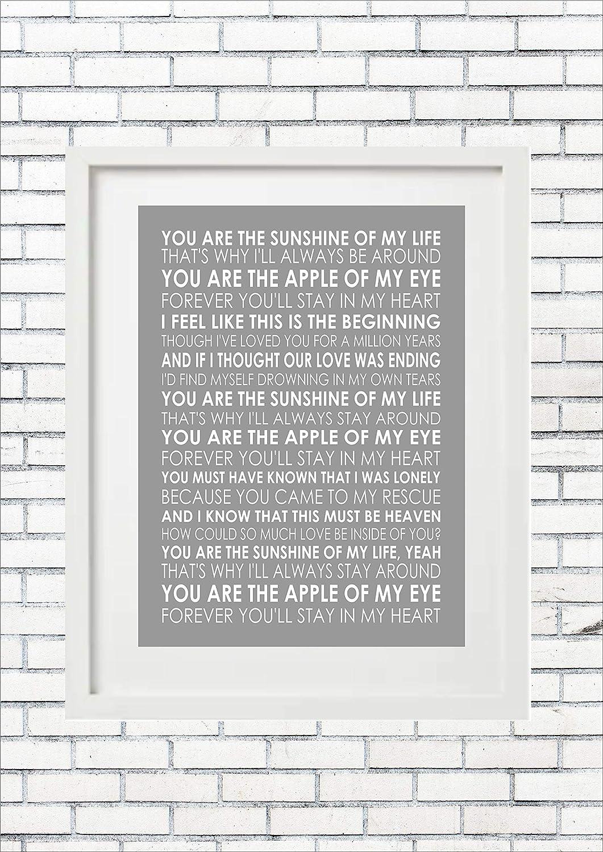 You Are The Sunshine Of My Life Stevie Wonder Lyrics Unframed Print Poster Canvas Framed Frame A4 A3 A2 A1 Amazon Co Uk Handmade
