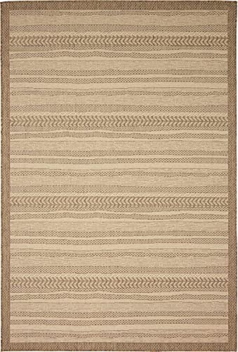 Unique Loom Outdoor Border Collection Striped Moroccan Transitional Indoor and Outdoor Flatweave Beige Area Rug 6 0 x 9 0