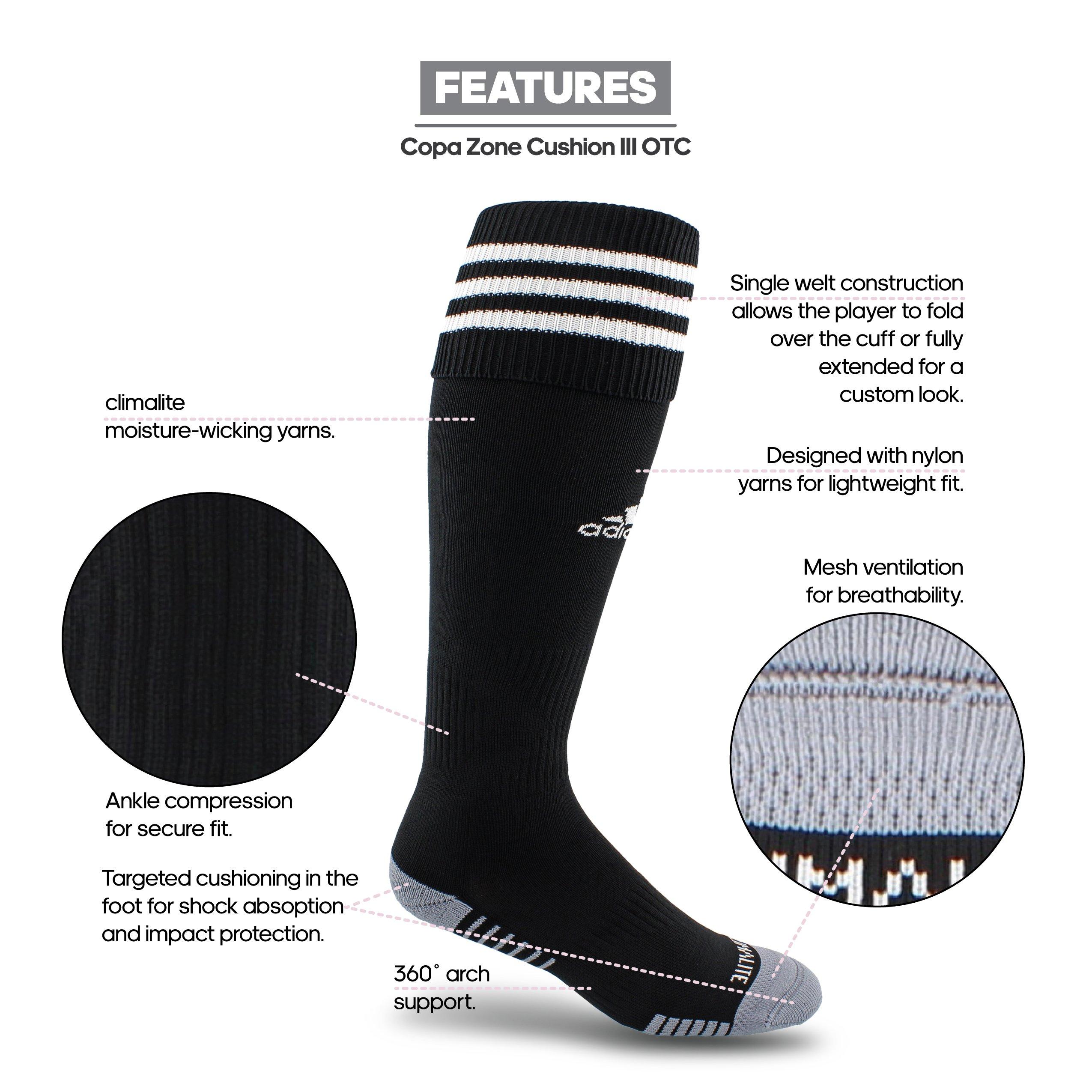 e67d0b497 adidas Copa Zone Cushion III Soccer Socks, Black/White, Size Large ...