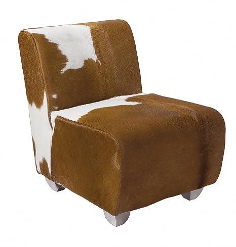 Pirouette - Silla de Piel de Vaca Jason, Acero, Camel Ecru ...