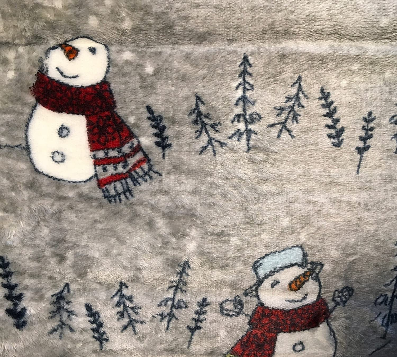 Cuddl Duds Plush Gray Snowman Winter Fleece Throw Blanket Cozy Soft NEW