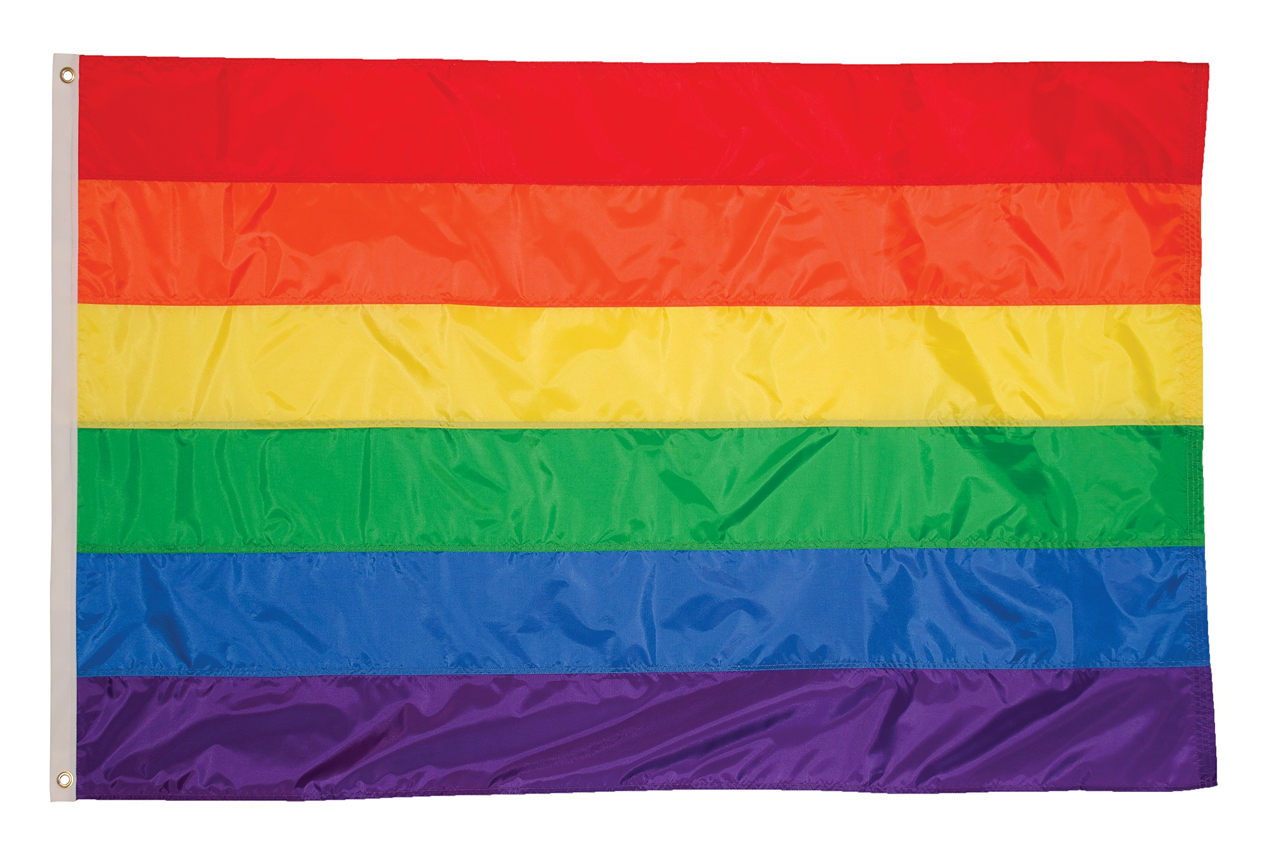 In the Breeze 5 Foot 8 Foot Rainbow Flag - Rainbow Grommet Flag Sewn Stripes