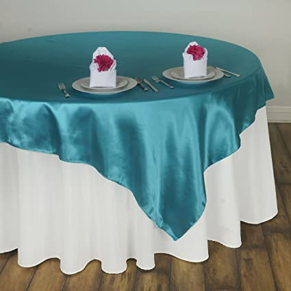 ArtOFabric 58x58 Inch Square Satin Table Overlay   Turquoise.