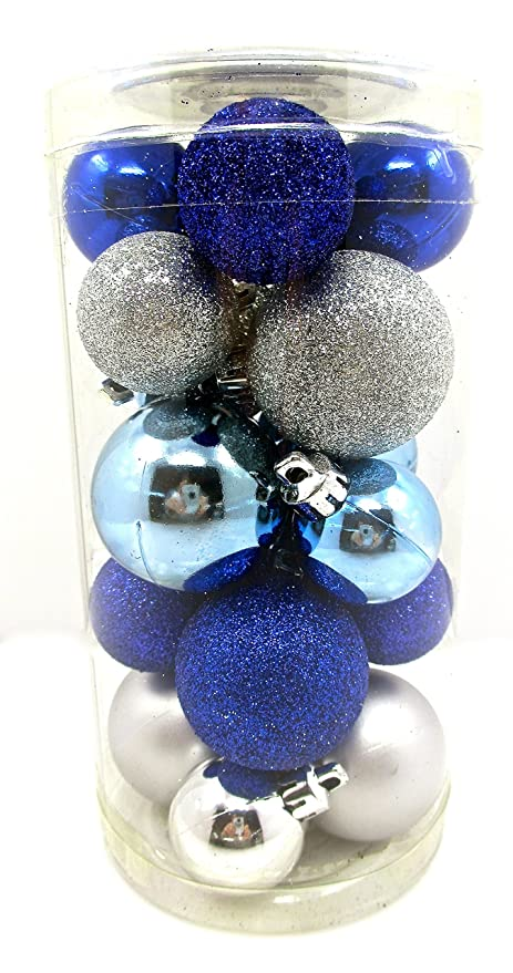 holiday time mini ornament setshatterproof shiny bulbs with glitter20x cobalt blue - Blue And Silver Christmas Ornaments
