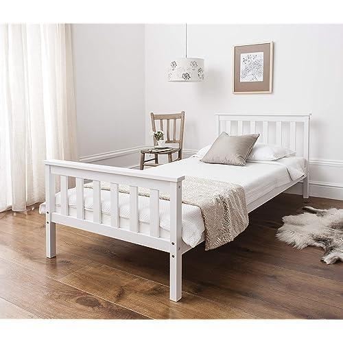 White Wooden Single Bed: Amazon.co.uk