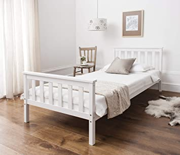 Noa And Nani Single Bed In White 3ft Single Bed Wooden Frame White