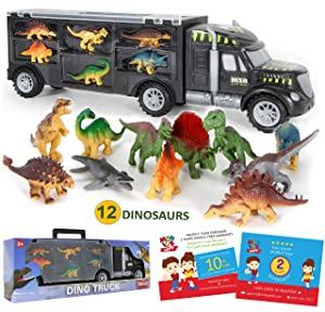 Dinosaur Truck Carrier – 12 Toy Dinosaurs Playset with a Dinosaur Car World – Dinosaur Toys Set for Toddler with More Dinosaur – Monster Trucks for Boys & Girls for 3, 4, 5, 6, 7 Years Old