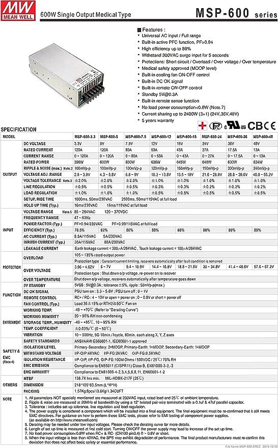 Mean Well Original MSP-300-48 Enclosed-PFC Medical Power Supplies 48V 7A