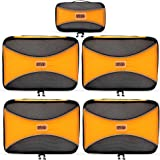 PRO Packing Cubes   5 Piece Set  Lightweight & Durable Travel Cube  Get 30% Compression   Ideal for Saving Space & Beating Luggage Restrictions (Orange)